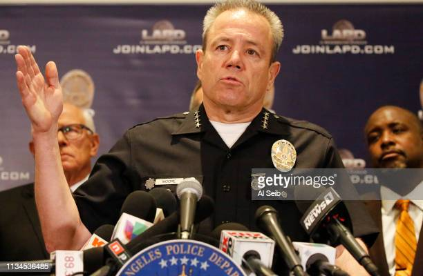 Los Angeles Police Department Chief Michel Moore addresses a news conference at LAPD headquarters April 2 2019 in Los Angeles California Police gave...