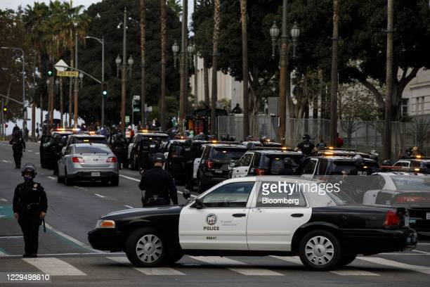 Los Angeles Police Department officers assemble in anticipation of protesters during the 2020 Presidential election in Los Angeles, California, U.S.,...