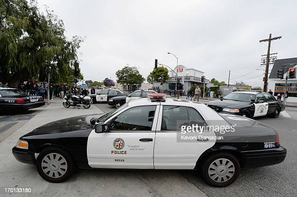Los Angeles Police Department Officers deploy around the Santa Monica College near the library after multiple shootings were reported on June 7 2013...