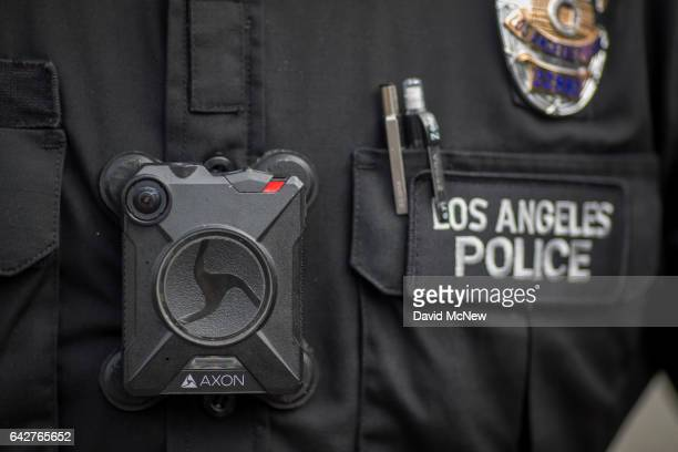 Los Angeles police officer wear an AXON body camera during the Immigrants Make America Great March to protest actions being taken by the Trump...