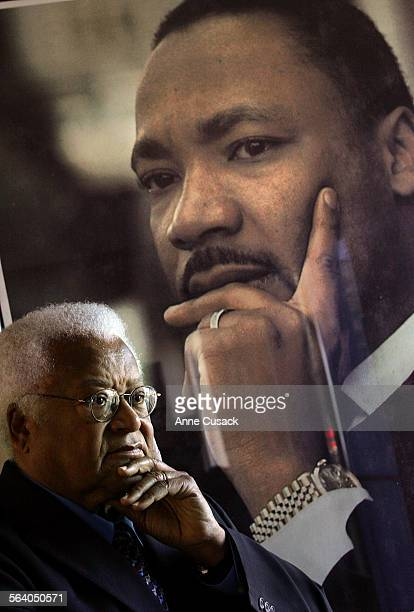 Los Angeles Portrait of the Reverend James Lawson taken by photograph of Dr Martin Luther King which hangs in the Southern Christian Leadership...