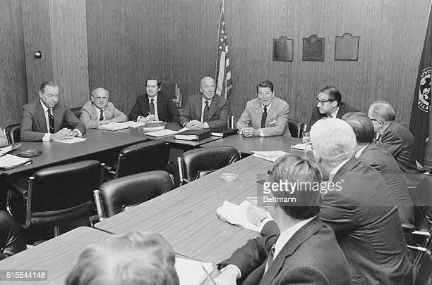 Los Angeles; President elect Ronald Reagan meets with his top economic advisers 11/16 at the Los Angeles Federal Building. Advisers that are...