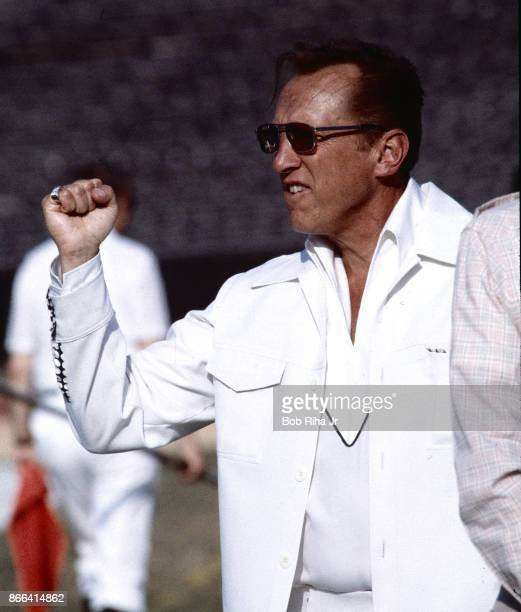 Los Angeles Raiders Owner Al Davis cheers from the sidelines during San Francisco 49'ers game against Los Angeles Raiders August 6 1983 in Los...