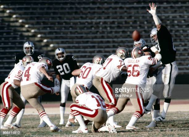 Los Angeles Raiders Ted Hendricks goes high to block a fieldgoal attempt during 1st quarter action during San Francisco 49'ers game against Los...