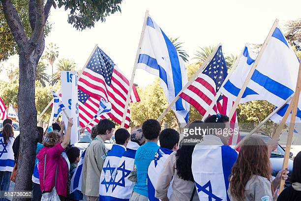 los angeles rally for israel - israel flag stock pictures, royalty-free photos & images