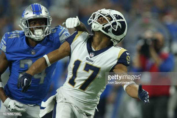 Los Angeles Ram wide receiver Robert Woods looks for the ball during a regular season game between the Los Angeles Rams and the Detroit Lions on...