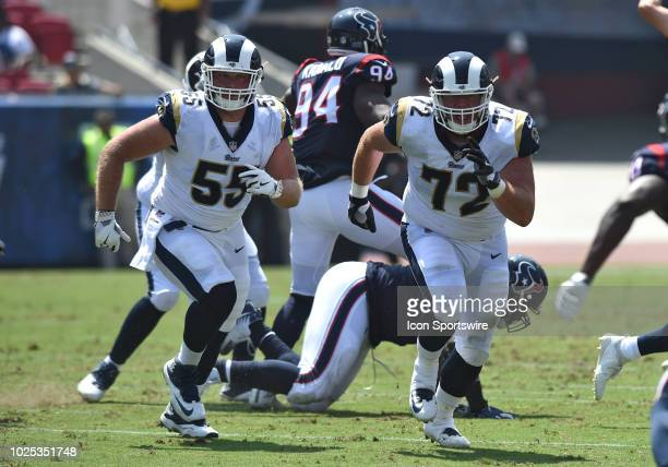 Los Angeles Rams Brian Allen and Los Angeles Rams Aaron Neary run their route during an NFL preseason game between the Houston Texans and the Los...