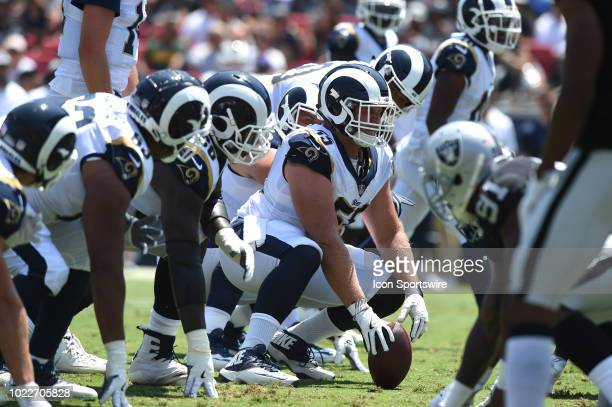 Los Angeles Rams Brian Allen sets up for the snap during an NFL preseason game between the Oakland Raiders and the Los Angeles Rams on August 18 2018...