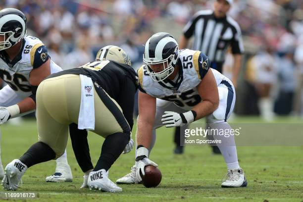 Los Angeles Rams center Brian Allen during an NFL football game between the New Orleans Saints and the Los Angeles Rams on September 15 at the Los...