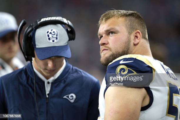 Los Angeles Rams center Brian Allen is seen during the second half of an NFL football game against the Detroit Lions in Detroit Michigan USA on...
