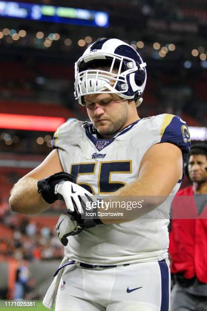 Los Angeles Rams center Brian Allen leaves the field following the National Football League game between the Los Angeles Rams and Cleveland Browns on...