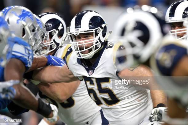 Los Angeles Rams center John Sullivan is seen during the second half of an NFL football game against the Detroit Lions in Detroit Michigan USA on...