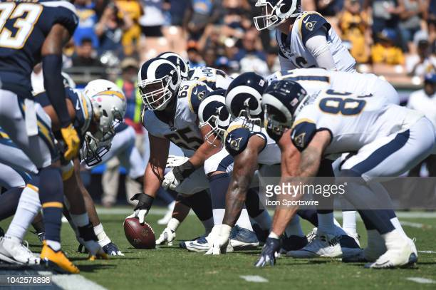 Los Angeles Rams Center John Sullivan prepares to snap the ball during an NFL game between the Los Angeles Chargers and the Los Angeles Rams on...