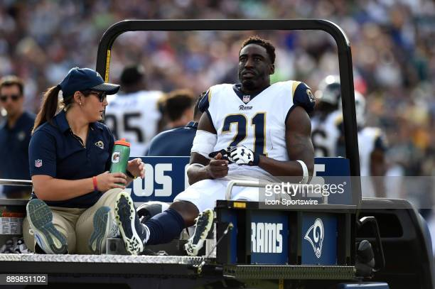 Los Angeles Rams Cornerback Kayvon Webster is carted off the field with an injury during an NFL game between the Philadelphia Eagles and the Los...