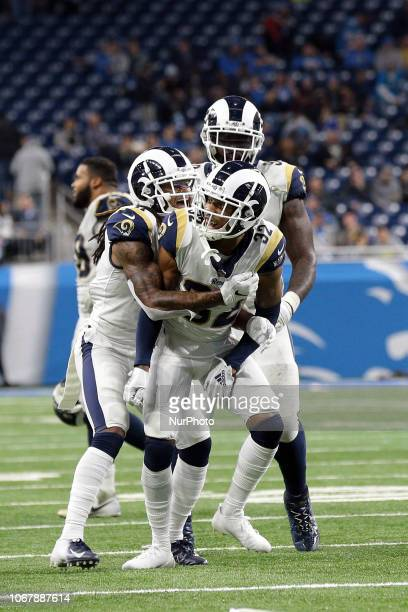 Los Angeles Rams cornerback Troy Hill , calebrates with defensive back Marqui Christian and defensive end Michael Brockers after intercepting a pass...