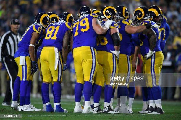 Los Angeles Rams defence in huddle against the Dallas Cowboys at Los Angeles Memorial Coliseum on January 12 2019 in Los Angeles California