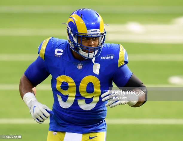 Los Angeles Rams defensive end Aaron Donald lines up during a 23-20 San Francisco 49ers win at SoFi Stadium on November 29, 2020 in Inglewood,...