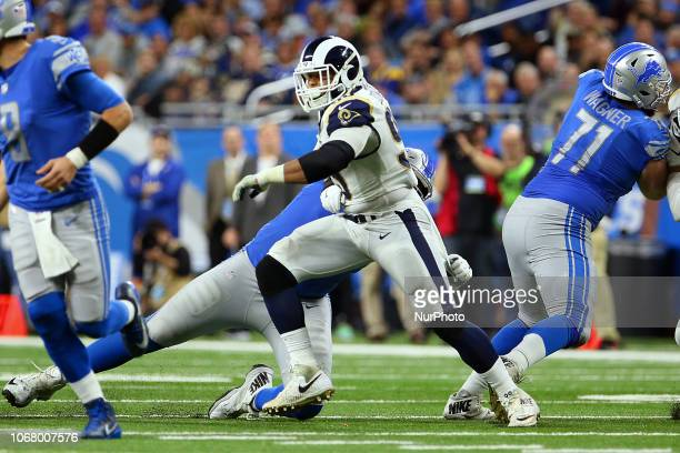 Los Angeles Rams defensive tackle Aaron Donald defends against Detroit Lions offensive guard Kenny Wiggins during the second half of an NFL football...