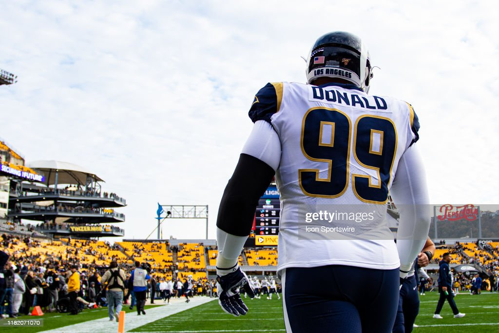 Los Angeles Rams Defensive Tackle Aaron Donald Looks On During The News Photo Getty Images