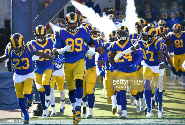 Los Angeles Rams enters the stadium before playing the San Francisco 49ers at Los Angeles Memorial Coliseum on December 30 2018 in Los Angeles...