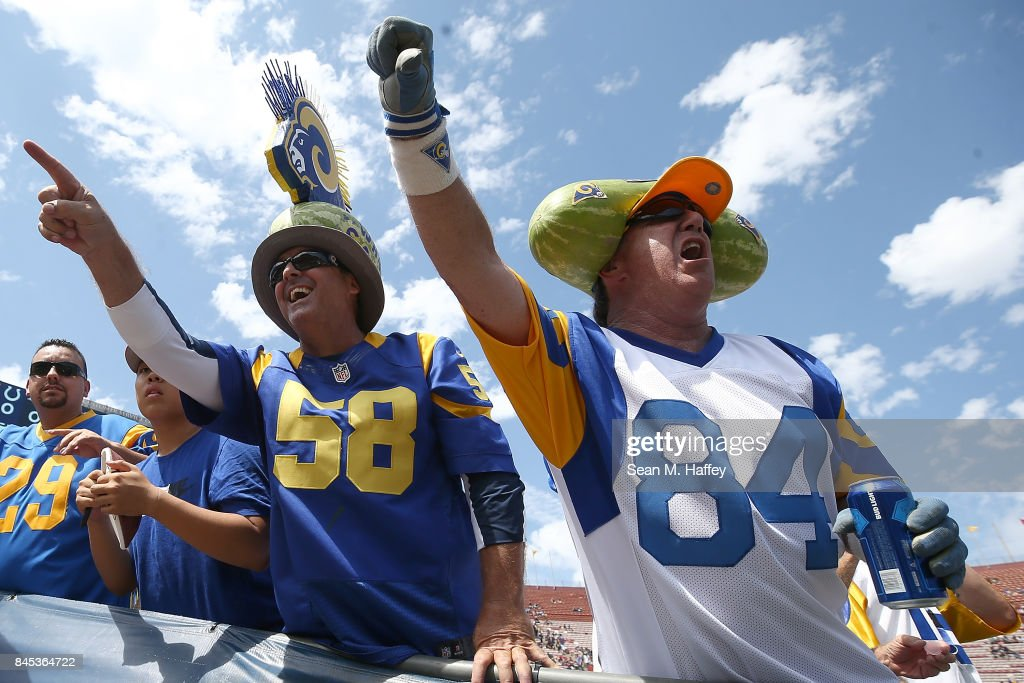 A Los Angeles Rams fan attends the home opener against the Indianapolis Colts at the Los Angeles Memorial Coliseum on September 10, 2017 in Los Angeles, California.