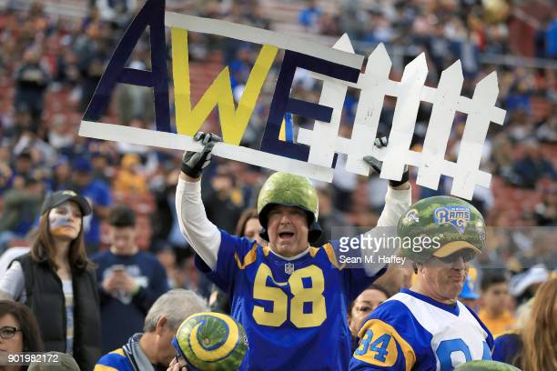 Los Angeles Rams fan attends the NFC Wild Card Playoff Game between the Los Angeles Rams and Atlanta Falcons at the Los Angeles Coliseum on January 6...
