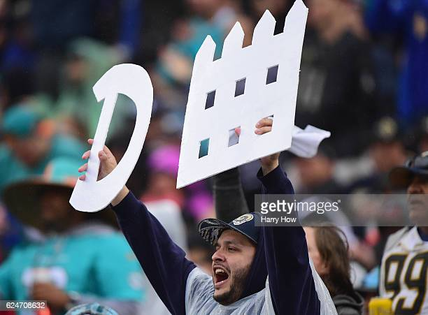 Los Angeles Rams fan cheers on the defense during the third quarter of the game against the Miami Dolphins at Los Angeles Coliseum on November 20...
