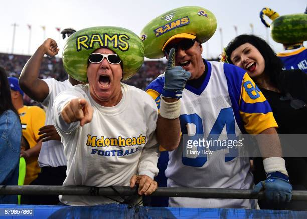 Los Angeles Rams fans are seen during the game against the New Orleans Saints at the Los Angeles Memorial Coliseum on November 26 2017 in Los Angeles...