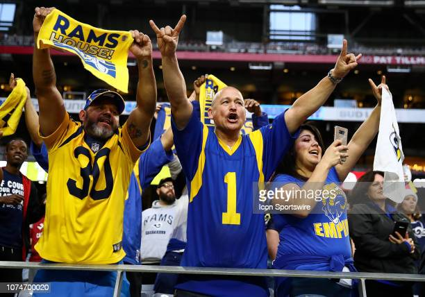Los Angeles Rams fans celebrate during the NFL football game between the Arizona Cardinals and the Los Angeles Rams on December 23 2018 at State Farm...