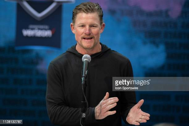 Los Angeles Rams general manager Les Snead answers questions from the media during the NFL Scouting Combine on February 28 2019 at the Indiana...