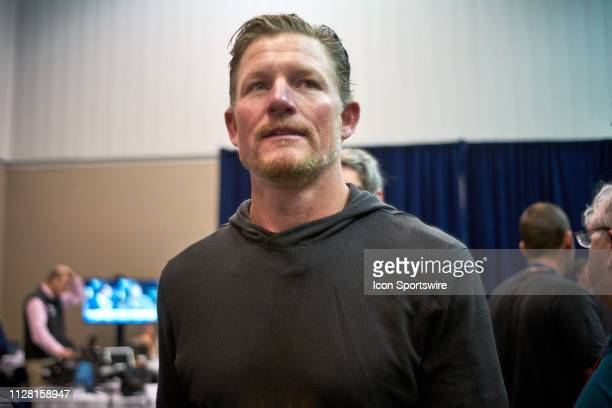 Los Angeles Rams general manager Les Snead speaks to the media during the NFL Scouting Combine on February 28 2019 at the Indiana Convention Center...