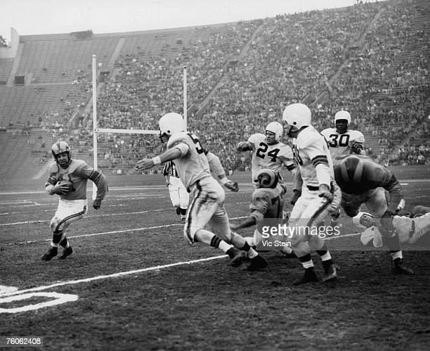 Los Angeles Rams halfback Glenn Davis on a carry in a 2417 win over the Cleveland Browns in a League Championship game on December 23 1951 at Los...
