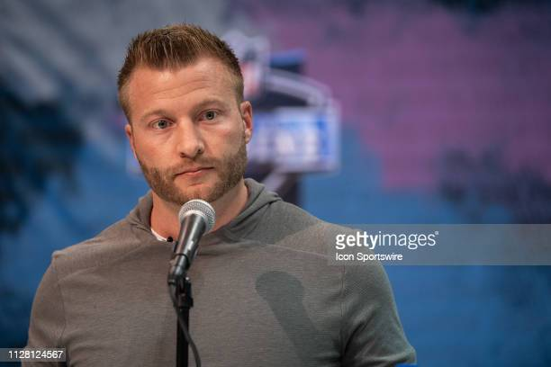 Los Angeles Rams head coach Sean McVay answers questions from the media during the NFL Scouting Combine on February 28 2019 at the Indiana Convention...