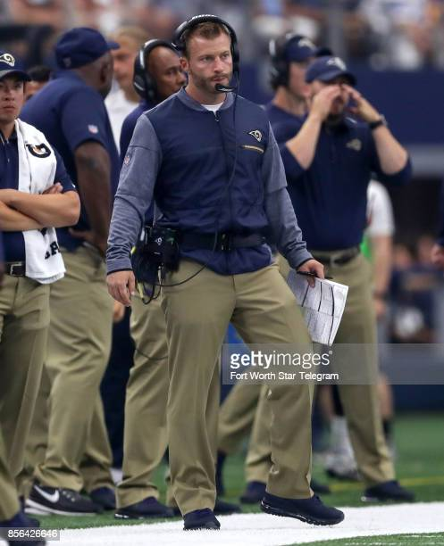 Los Angeles Rams head coach Sean McVay looks on as his Rams face the Dallas Cowboys on Sunday Oct 1 2017 at ATT Stadium in Arlington Texas