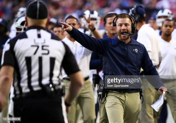Los Angeles Rams head coach Sean McVay points to the referee during the NFL football game between the Arizona Cardinals and the Los Angeles Rams on...
