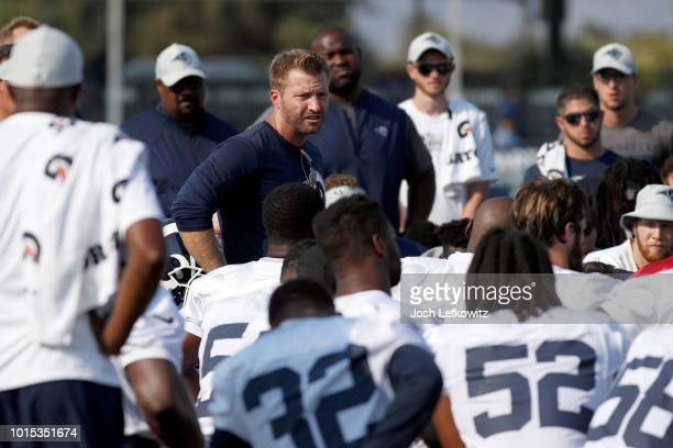 Los Angeles Rams Head Coach Sean McVay speaks to his team at the end of training camp at Crawford Field on August 11 2018 in Irvine California