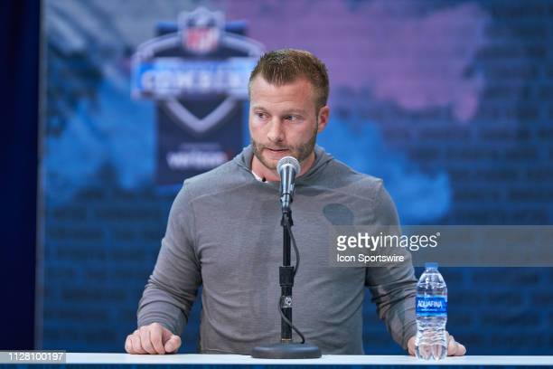 Los Angeles Rams head coach Sean McVay speaks to the media during the NFL Scouting Combine on February 28 2019 at the Indiana Convention Center in...