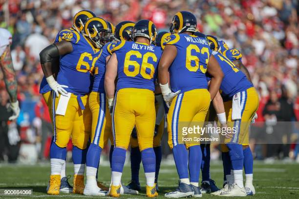 Los Angeles Rams in the huddle during an NFL game between the game between the San Francisco 49ers and the Los Angeles Rams on December 31 2017 at...
