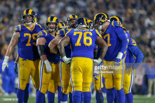 Los Angeles Rams in the huddle during the NFC Divisional Football game between the Dallas Cowboys and the Los Angeles Rams on January 12 2019 at the...