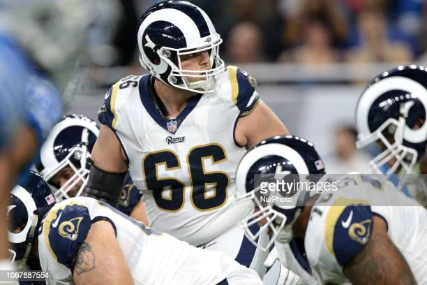 Los Angeles Rams offensive guard Austin Blythe looks back to quarterback Jared Goff during the second half of an NFL football game against the...