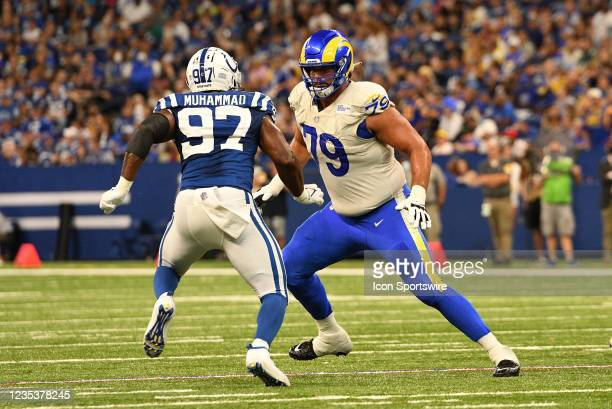 Los Angeles Rams Offensive Tackle Rob Havenstein blocks Indianapolis Colts Defensive End Al-Quadin Muhammad during the NFL football game between the...