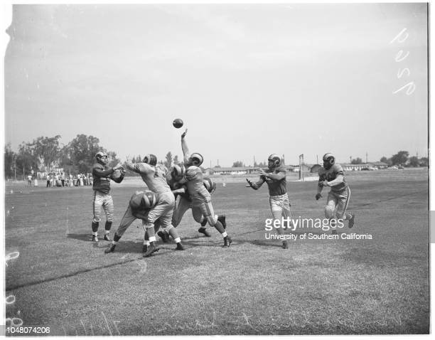 Los Angeles Rams opening scrimmage 19 July 1951 Bob WaterfieldDick Hoerner VT Smith Bill Lange Charles Toogood Jerry WilliamsWoodley LewisTom Fears...