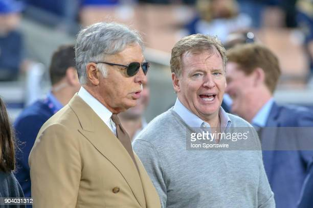 Los Angeles Rams owner Stan Kroenke and NFL commissioner Roger Goodell during the NFC Wild Card football game between the Atlanta Falcons and the Los...