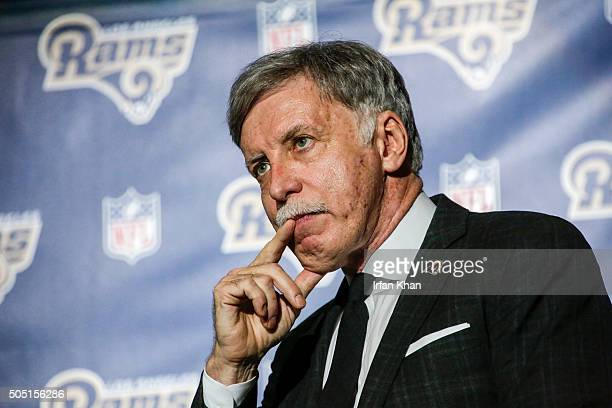 Los Angeles Rams owner Stan Kroenke at a press conference at Forum to celebrate and welcome team to Los Angeles