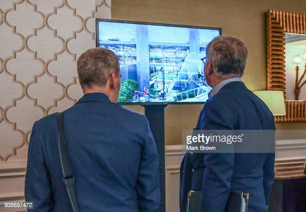 Los Angeles Rams owner Stan Kroenke watches a video for the Rams new stadium displayed at the 2018 NFL Annual Meetings at the Ritz Carlton Orlando...