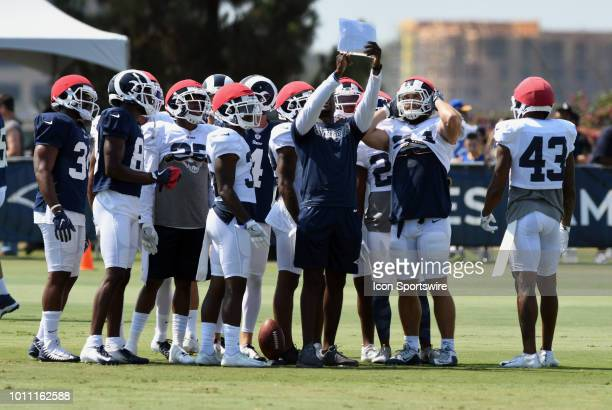 Los Angeles Rams players on the field during Rams training camp held on August 4 2018 on the campus of UC Irvine in Irvine CA