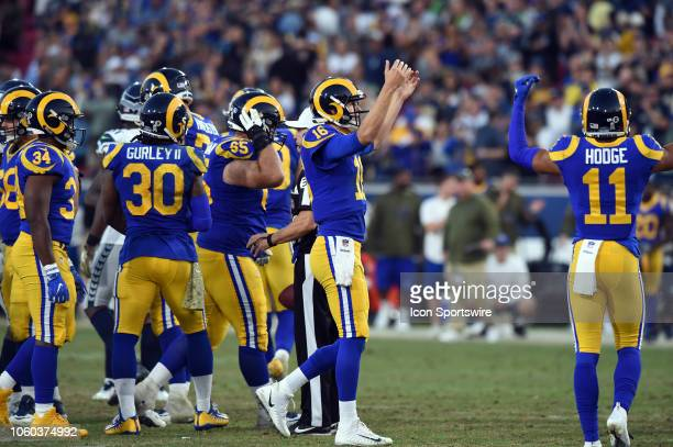 Los Angeles Rams Quarterback Jared Goff celebrates the victory during an NFL game between the Seattle Seahawks and the Los Angeles Rams on November...