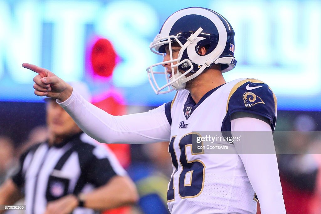 Los Angeles Rams quarterback Jared Goff (16) during the third quarter of the National Football League game between the New York Giants and the Los Angeles Rams on November 5, 2017, at Met Life Stadium in East Rutherford, NJ.