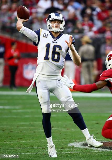 Los Angeles Rams quarterback Jared Goff throws a pass during the NFL football game between the Arizona Cardinals and the Los Angeles Rams on December...