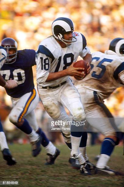 Los Angeles Rams quarterback Roman Gabriel drops back to pass in 23-20 loss to the Minnesota Vikings in the 1969 NFL Western Conference Playoff on .